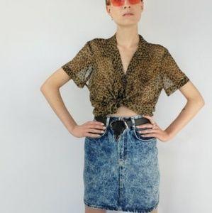 Vintage high waisted Acid wash skirt